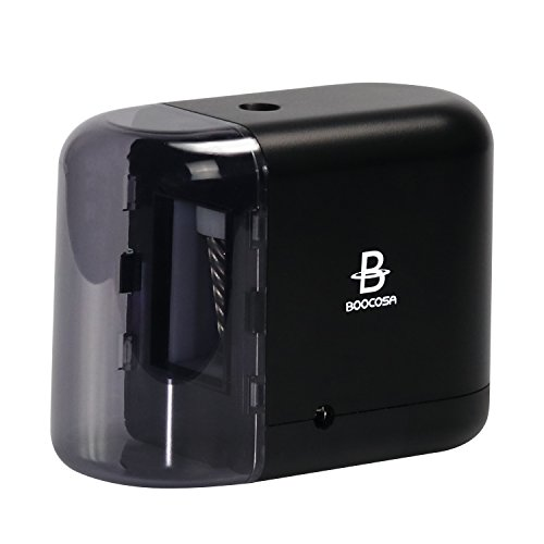 BOOCOSA Pencil Sharpener, BEST Heavy Duty Steel Blade, Electric Pencils Sharpener with Auto Stop for School Classroom Office Home - Precise Perfect Point Every time for Artists Kids Adults