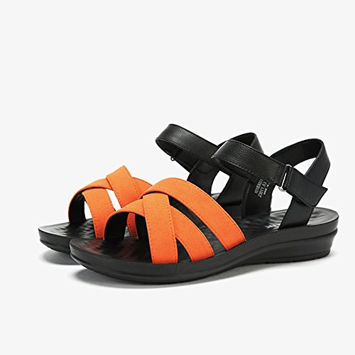 Verano De Unisex Sandalias Simples Señora Sólidos Velcro Orange Ocasionales qwf0UHTx0