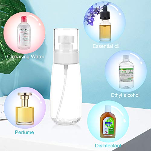 MAQUITA 6 Packs Spray Bottle 3.38oz/100ml Empty Bottle Accessories Refillable Container Large Travel Multifunction Clear Bottle for Perfumes Essential Oil(3 color)