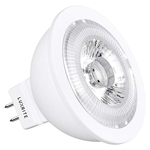 Led Mr16 Piece 10 - Luxrite MR16 LED Bulb Dimmable, 12V, 50W Equivalent, 2700K Warm White, 500 Lumens, 7W LED Spotlight Bulb, 25 Degree, Damp Rated & UL Listed, GU5.3 Bi-Pin Base - Home and Track Lighting