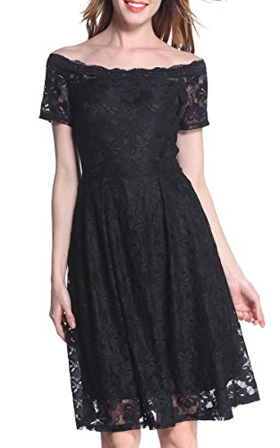 Buy black 3/4 sleeve boat neck dress - 8