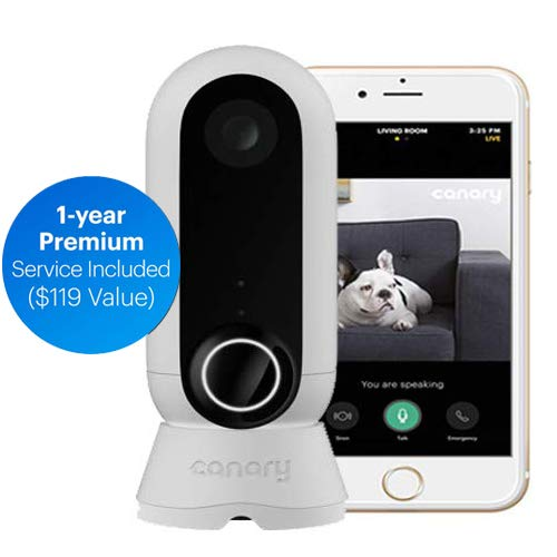 Use w//iOS, Alexa /& Google Home Protection Person Alerts Indoor Surveillance Motion Wide-Angle Lens Canary View: 2019 Model//WiFi Home Security Camera +1-Year Subscription