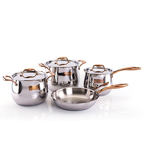 Fleischer & Wolf Stainless Steel Cookware Set (7-Piece) - Satin Copper Trim Cuisine Set-Oven and Grill safe Kitchen Pots and Pans Set - Dishwasher Safe
