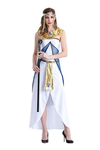 Uleade Halloween Costume Greek Goddess Costume Egyptian Queen Arabian Girl White Dress]()
