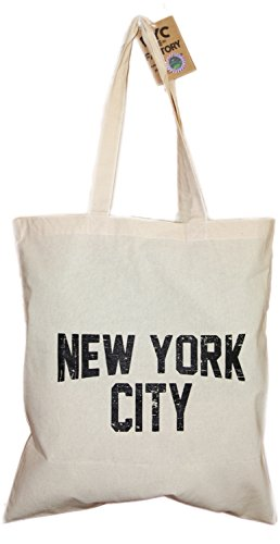 NYC Tote Bag Distressed New York City 100% Cotton Canvas Screenprinted