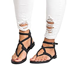 Xiakolaka Womens Summer Sandals Flat Ankle Buckle Criss Cross Gladiator Thong Flip Flop Casual Shoes  B07CJ5MSS5
