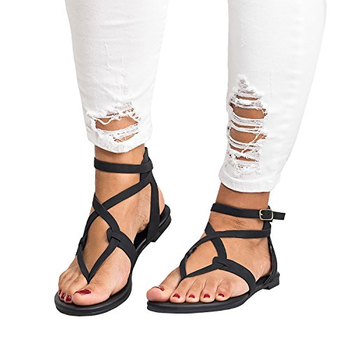 Womens Gladiator Strappy Flat Open Toe Lace Up Criss Cross Strap Ankle Wrap Summer Beach Thongs Sandals (7 M US, D Black)