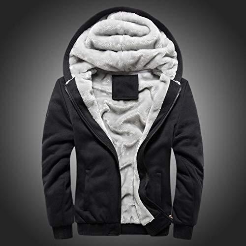 Épaississement Hoodie À Unie Noir Polaire Couleur Plus Vêtement Hommes Chaud Zipper Velvet Veste Deelin Capuche Sweat D'extérieur Hiver Manteau vX7Uw