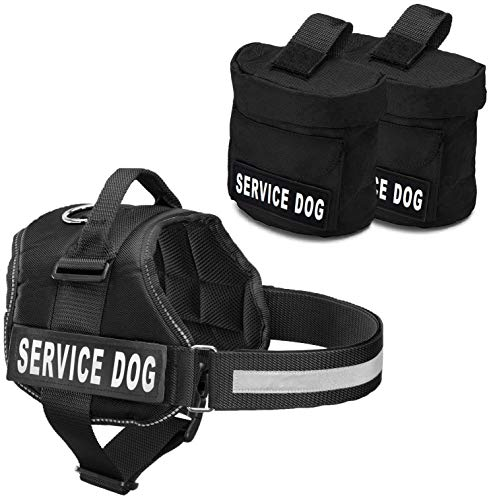 Service Dog Vest With Hook and Loop Straps and Detachable Backpacks - Harnesses In 7 Sizes From XXS to XXL - Service Dog Harness Features Reflective Patch and Comfortable Mesh Design (Black, Large)