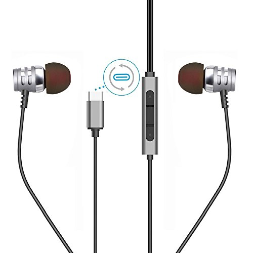 Type C Earphones Moto Z Earbuds HTC U11 Headphones Type C Headphone USB Type C Earbud Hi-Fi Digital 3D Audio Without Mic for All USB Type C Port Smartphone and Devices - Silver