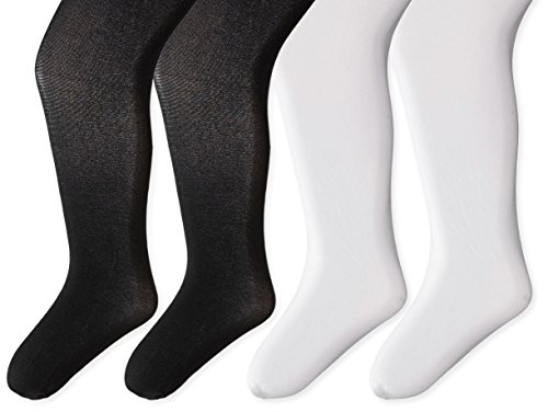 Little Girls trimfit Little Girls 4-Pack Nylon Spandex Opaque Tights Black/White 2-4 -