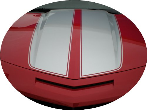 Rally Stripes Decals - Camaro Rally Racing Stripes Silver Shiny Decal Vinyl V8 & V6, RS and SS