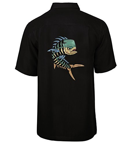 Hook & Tackle Men's Mahi X-Ray Short Sleeve Embroidered Fishing Shirt Black XLarge