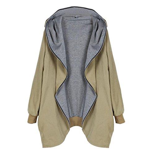 Women Windbreaker Among Zipper Hoodie Kapuzen Jacket Loose Large Size Parka Trench Pocket Coat Clothes (M, Khaki)