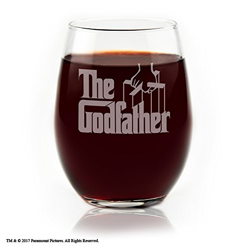 Movies On Glass - The Godfather Movie Engraved Logo Stemless Wine Glass