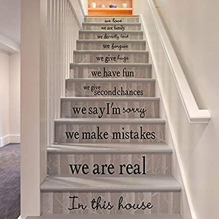 yaonuli Palabra Frase escaleras decoración de la casa Arte de la Pared Pegatina de Vinilo Sala de Estar decoración Impermeable Escalera Arte de la Pared decoración 102x162 cm: Amazon.es: Hogar