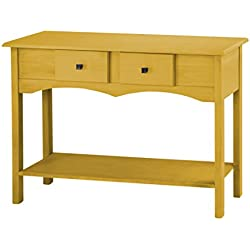 Manhattan Comfort Jay Collection Modern Wooden Entryway Table with Two Drawers and One Shelf, Yellow