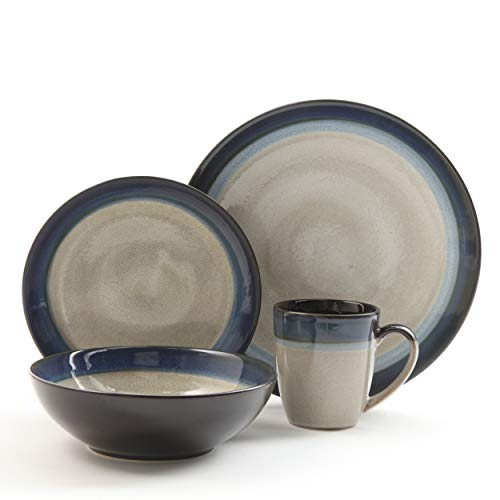 Gibson Elite Couture Bands 16-Piece Dinnerware Set, Blue (16 Dinnerware Set Stoneware Piece)