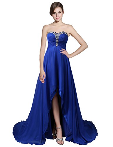 Sweetheart Dance Dresses (Sarahbridal Women's Chiffon Sweetheart Hi-Lo Bridesmaid Dresses Evening Party Prom Gown Royal Blue US2)