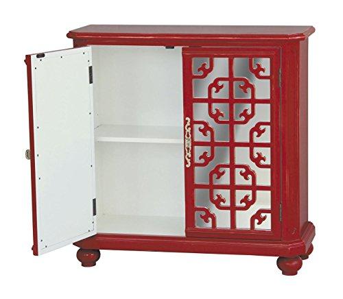 Mirrored Hall Chest - Pulaski Tatum Door Chest, 37 by 16 by 33-Inch, Red