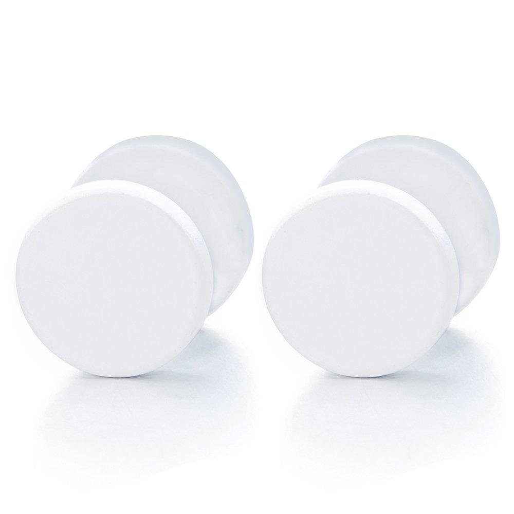 2pcs 6-12MM White Circle Stud Earrings Men Women, Steel Cheater Fake Ear Plugs Gauges Illusion Tunnel COOLSTEELANDBEYOND ME-959-06-EU