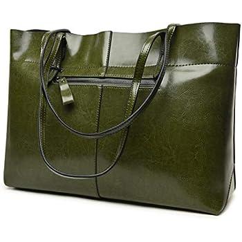 c081a9237151 Covelin Women s Handbag Genuine Leather Tote Shoulder Bags Soft Hot  (Horizontal Army Green)