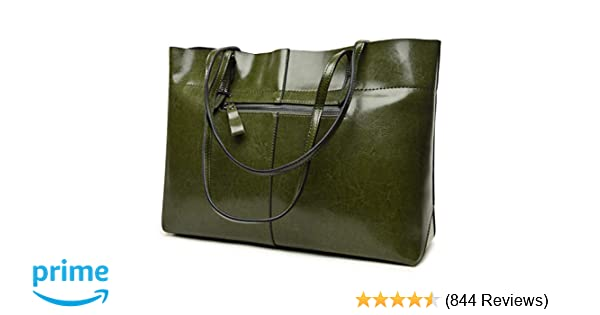 61d255db42e9 Amazon.com  Covelin Women s Handbag Genuine Leather Tote Shoulder Bags Soft  Hot (Horizontal Army Green)  Shoes
