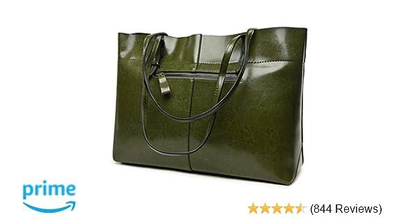 Amazon.com  Covelin Women s Handbag Genuine Leather Tote Shoulder Bags Soft  Hot (Horizontal Army Green)  Shoes f7d623ba27848