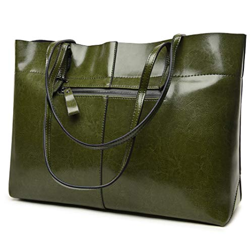 bag Genuine Leather Tote Shoulder Bags Soft Hot (Horizontal Army Green) ()