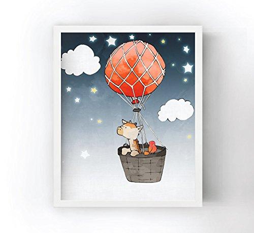 amazon com giraffe nursery art print red balloon and basket