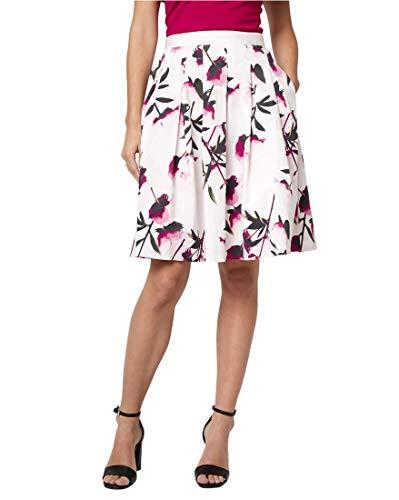 (LE CHÂTEAU Floral Print Cotton Sateen Full Skirt,12,Off White/Black)