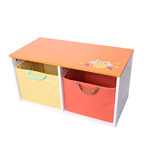 Labebe Wooden Children Storage Bins/Toy Box/Chest /Organizer for Baby Girls & Boys Toddler with 2 Baskets- Orange & Yellow