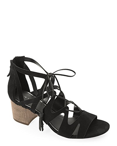 Elie Burano Black Tasseled Tahari Sandals Suede Svw68Sxf