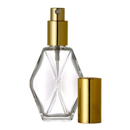 2 oz Diamond Glass SPRAY BOTTLE 48 Bottles: Fine Mist Perfume Cologne Spray Atomizer for Essential Oil Aromatherapy Perfume Cologne Wholesale Quantities Available (Purple Cap)