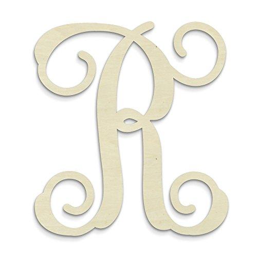UNFINISHEDWOODCO Single Vine Unfinished Monogram R Decorative Letter,
