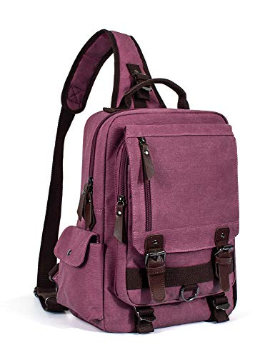 Leaper Canvas Messenger Bag Sling Bag Cross Body Shoulder Bag Purplish Red, L