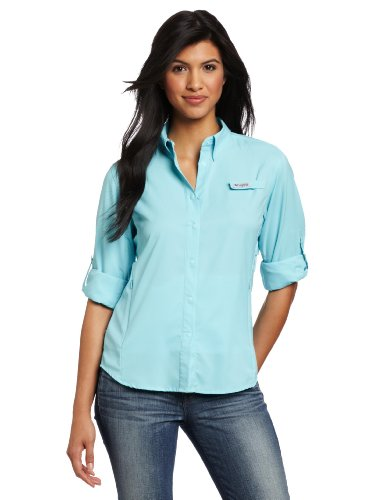 Columbia Women's PFG Tamiami II Long Sleeve Shirt , Clear Blue, 2X