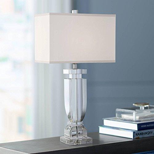 Emilia Modern Table Lamp Crystal Body Rectangular Shade for Living Room Bedroom Bedside Nightstand Office Family - Vienna Full Spectrum