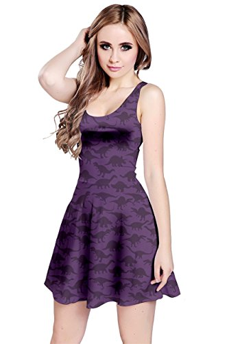 CowCow Purple A Pattern with Dinosaur Silhouettes Sleeveless Dress, Purple-S