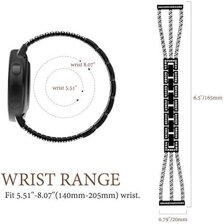 TiMOVO Replacement Band Compatible with Galaxy Watch Active/Active 2, 20mm Stylish Rhinestone Watch Replacement Strap Fit Galaxy Watch 42mm/Gear Sport/Garmin Vivomove/HR/Vivoactive 3 – Black 41MZ6qBj3DL