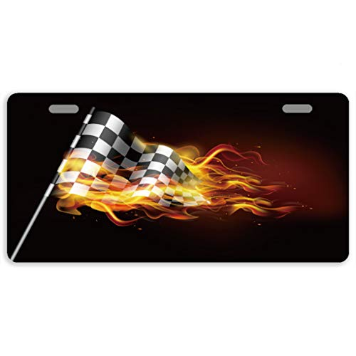 Eprocase License Plates Burning Racing Flag License Plate Cover Decorative Auto Tag Car Tag Sign Metal Novelty License Plate 2 Holes, 11.8