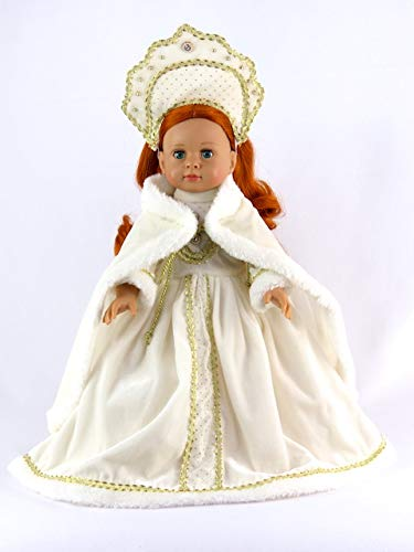 American Fashion World White Russian Traditional Gown| 18 Inch Doll -