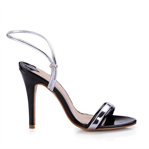 DolphinGirl Ladies' High Fashion Black Ankle Strap 10CM High Heels Sandals Business Shoes Dress Pumps SM00295 Black BcW2TSx6B