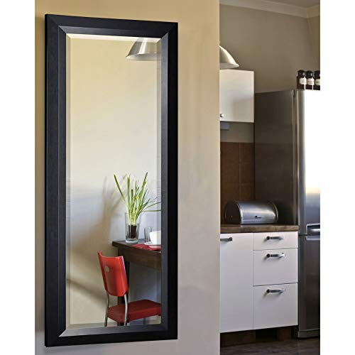 Rayne Mirrors American Made Angle Beveled Full Body Mirror, 26 by 64-Inch, Black