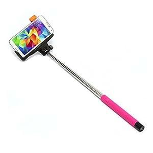 Genérico botón de control accionado por cable universal monopie autofoto del palillo con la abrazadera ajustable y varilla extensible para Samsung / Apple iPhone / Sony / Nokia rosa