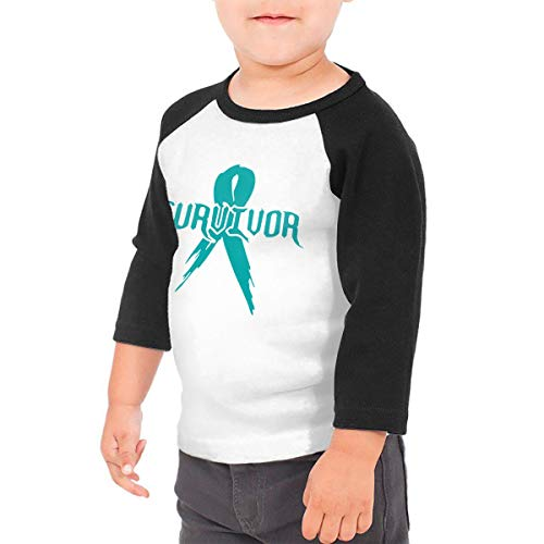 Teal Cancer Survivor Ribbon Unisex Toddler Baseball Jersey Contrast 3/4 Sleeves Tee 4T