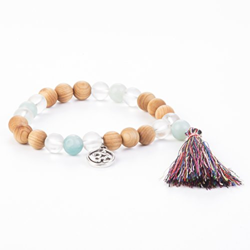 Tassel Mala Bracelet by Kuratif - Amazonite, Quartz and Sandalwood- Clarity, Love and (Amber Matte Tutu)