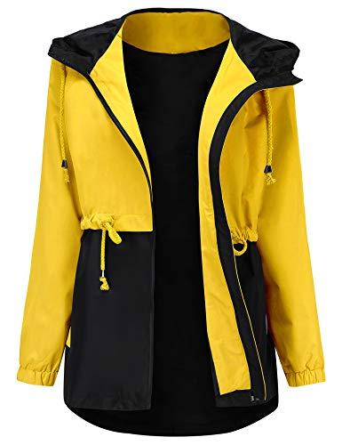 Romanstii Waterproof Raincoat Outdoor Hooded Rain Jacket Long Trench Coats Lined Windbreaker Yellow S