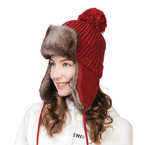 Womens Winter Wool Trapper Hunting Hat Ear Flaps Faux Fur Russian Ushanka Cold Weather Ski Bomber Knit Red