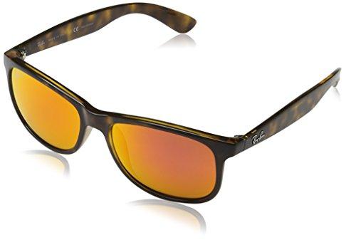 Ray-Ban Andy - Shiny Havana Frame Polar Orange Flash Lenses 55mm - Orange Bans Frame Ray